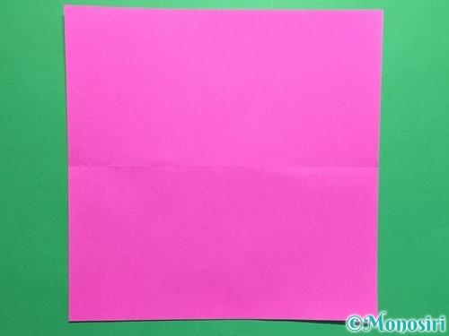 折り紙で連続ハートの切り方手順2