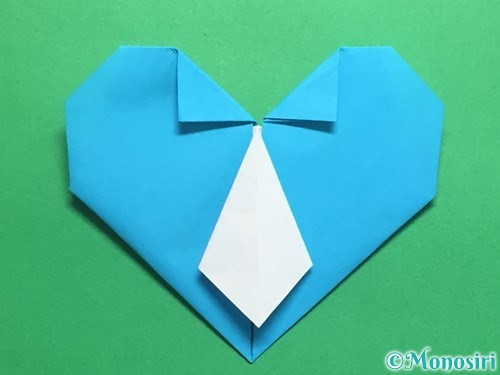折り紙でハートネクタイの折り方手順39