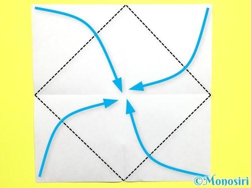 折り紙でバラの花の折り方手順3