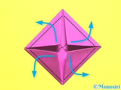 折り紙でバラの花の折り方手順9