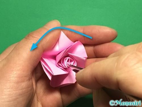 折り紙で立体的なバラの作り方手順35