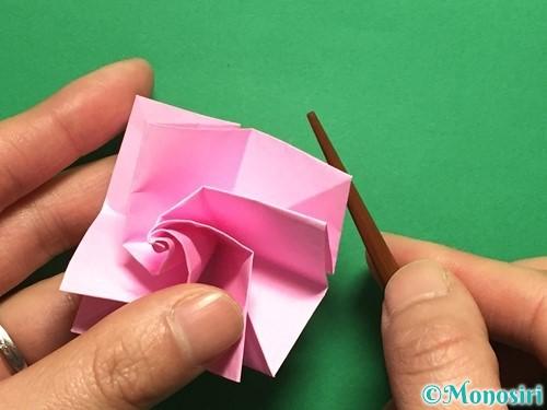 折り紙で立体的なバラの作り方手順37