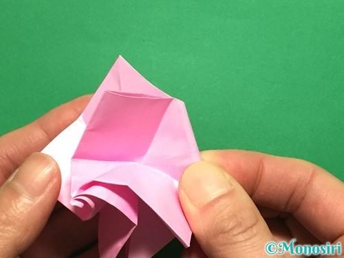 折り紙で立体的なバラの作り方手順39