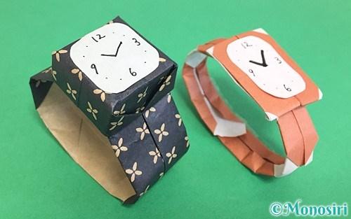 折り紙で折った腕時計