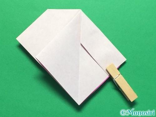 折り紙で立体的な紫陽花の作り方手順28