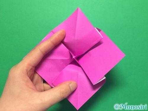 折り紙で立体的な紫陽花の作り方手順30