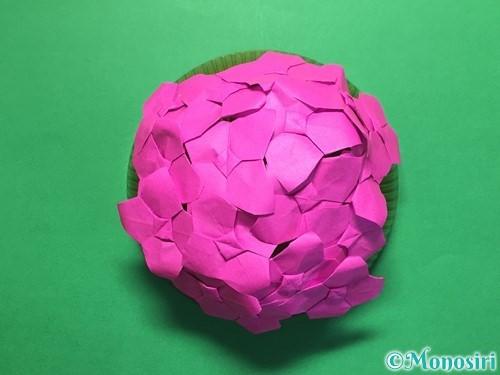 折り紙で立体的な紫陽花の作り方手順50
