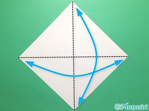 折り紙で傘の折り方手順1