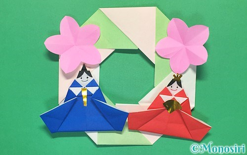 折り紙で作ったひな祭りリース