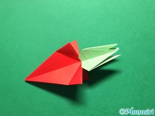 折り紙で立体的ないちごの作り方手順67
