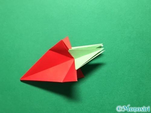 折り紙で立体的ないちごの作り方手順68