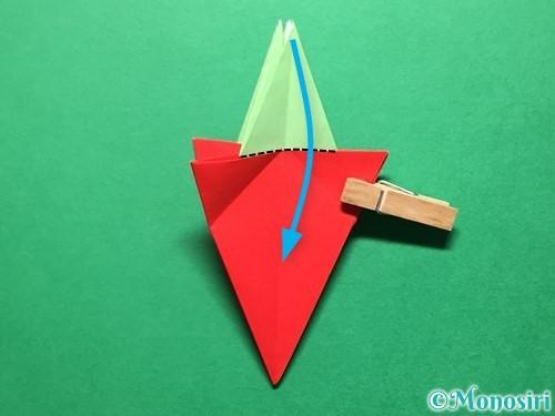 折り紙で立体的ないちごの作り方手順69
