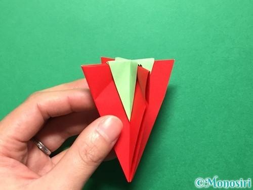 折り紙で立体的ないちごの作り方手順72