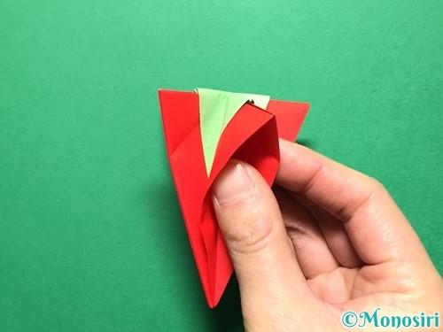折り紙で立体的ないちごの作り方手順73