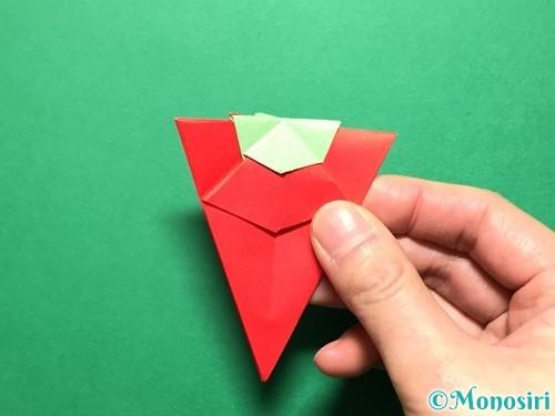折り紙で立体的ないちごの作り方手順74