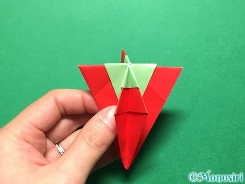 折り紙で立体的ないちごの作り方手順75