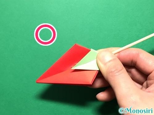 折り紙で立体的ないちごの作り方手順79