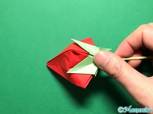折り紙で立体的ないちごの作り方手順81