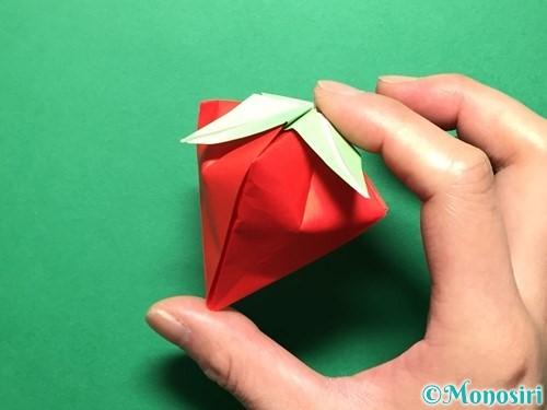 折り紙で立体的ないちごの作り方手順82