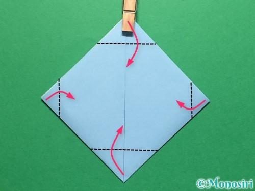 折り紙で立体的なてるてる坊主の折り方手順13