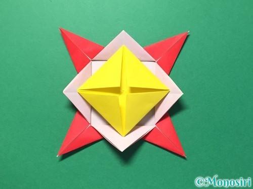 折り紙で花メダルの作り方手順36