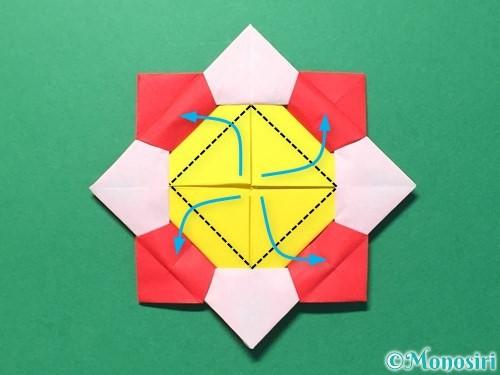 折り紙で花メダルの作り方手順42
