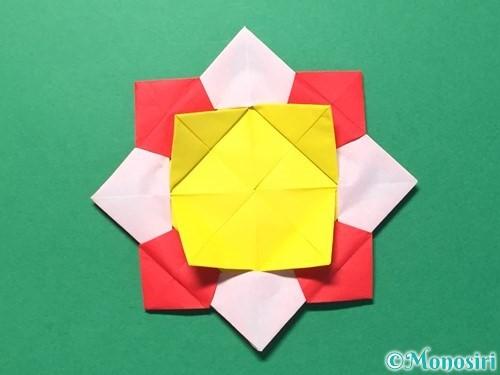 折り紙で花メダルの作り方手順43