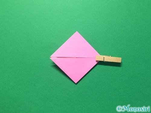 折り紙でハートのメダルの折り方手順16