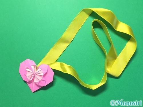 折り紙でハートのメダルの折り方手順35