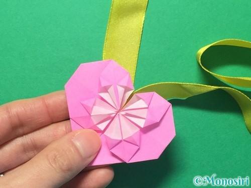 折り紙でハートのメダルの折り方手順37