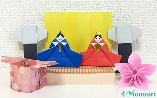 折り紙で作ったひな祭り(桃の節句)の飾り