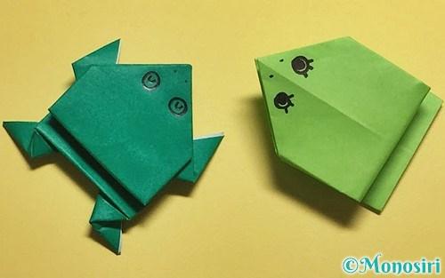 折り紙で折ったぴょんぴょんカエル