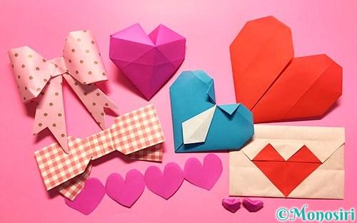 バレンタインの折り紙飾り