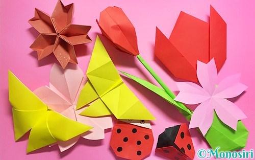 折り紙で作った卒園式や入園式の飾り