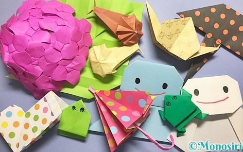 折り紙で作った梅雨の飾り