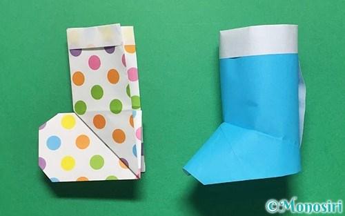 折り紙で作ったレインブーツ