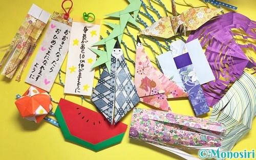 折り紙で作った七夕飾り