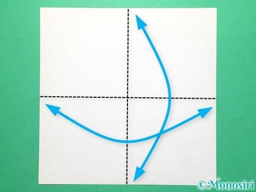 折り紙で紅白鶴の折り方手順1
