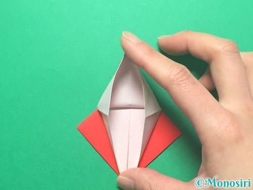 折り紙で紅白鶴の折り方手順20