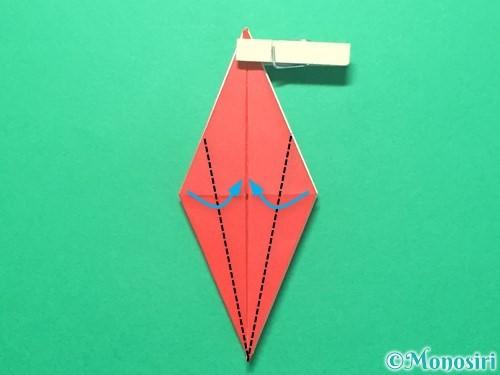 折り紙で紅白鶴の折り方手順23
