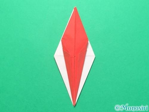 折り紙で紅白鶴の折り方手順24