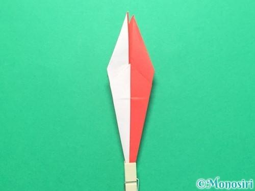 折り紙で紅白鶴の折り方手順27
