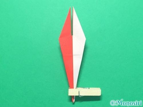 折り紙で紅白鶴の折り方手順28