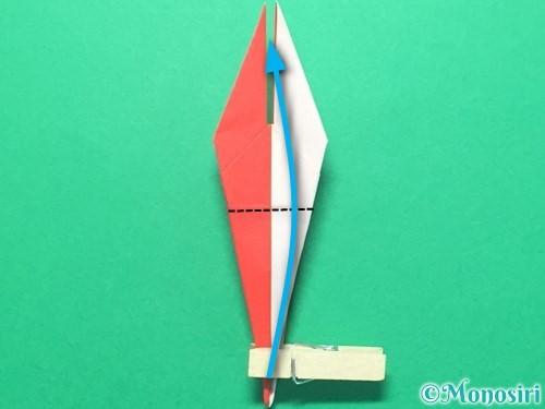 折り紙で紅白鶴の折り方手順29