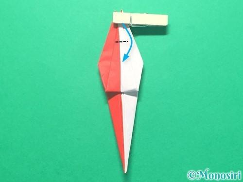 折り紙で紅白鶴の折り方手順31