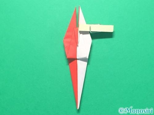 折り紙で紅白鶴の折り方手順32