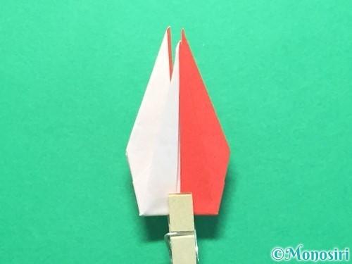 折り紙で紅白鶴の折り方手順33