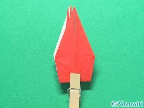 折り紙で紅白鶴の折り方手順35