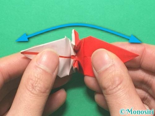 折り紙で紅白鶴の折り方手順38