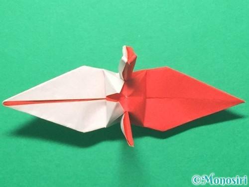 折り紙で紅白鶴の折り方手順39